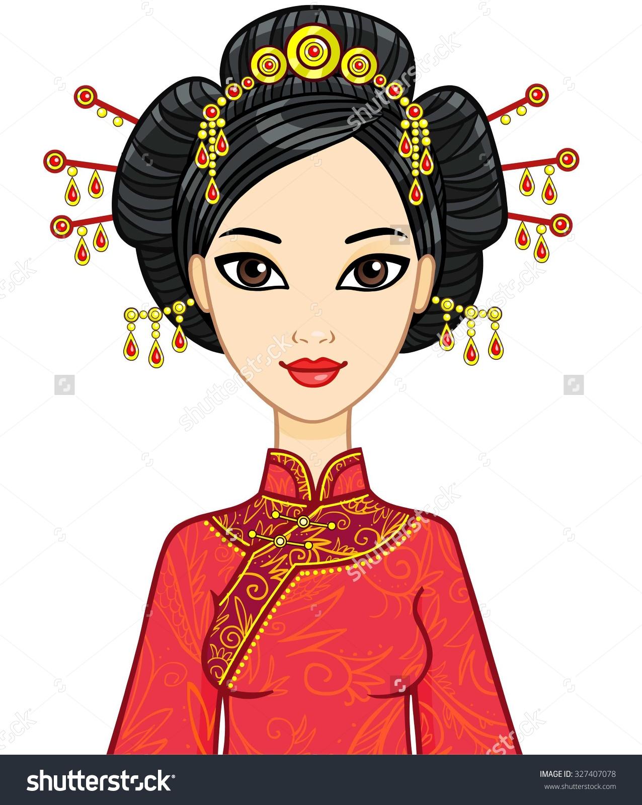 Beautiful chinese woman long dress clipart.