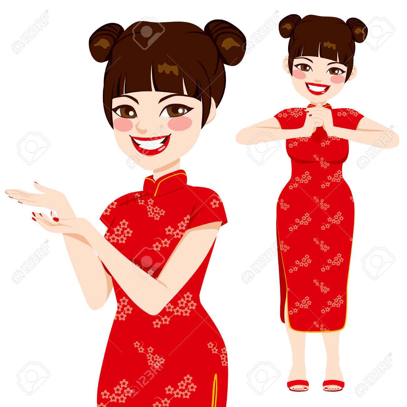 Beautiful chinese woman long dress clipart.