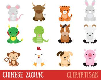 Chinese Zodiac Animals Clip Art, Chinese New Year.