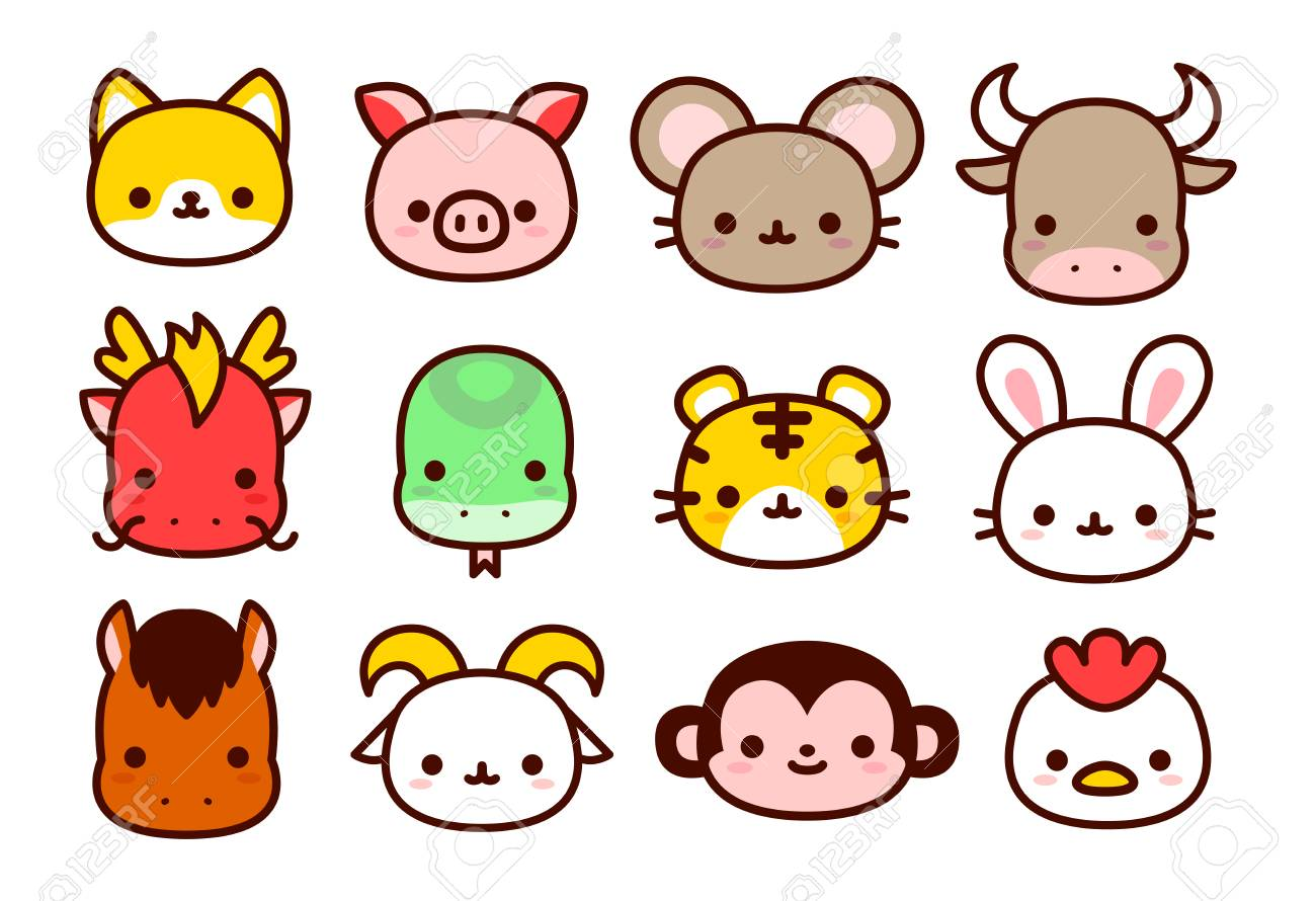 Vector Cartoon Chinese Zodiac Animals Icon Isolated On White...
