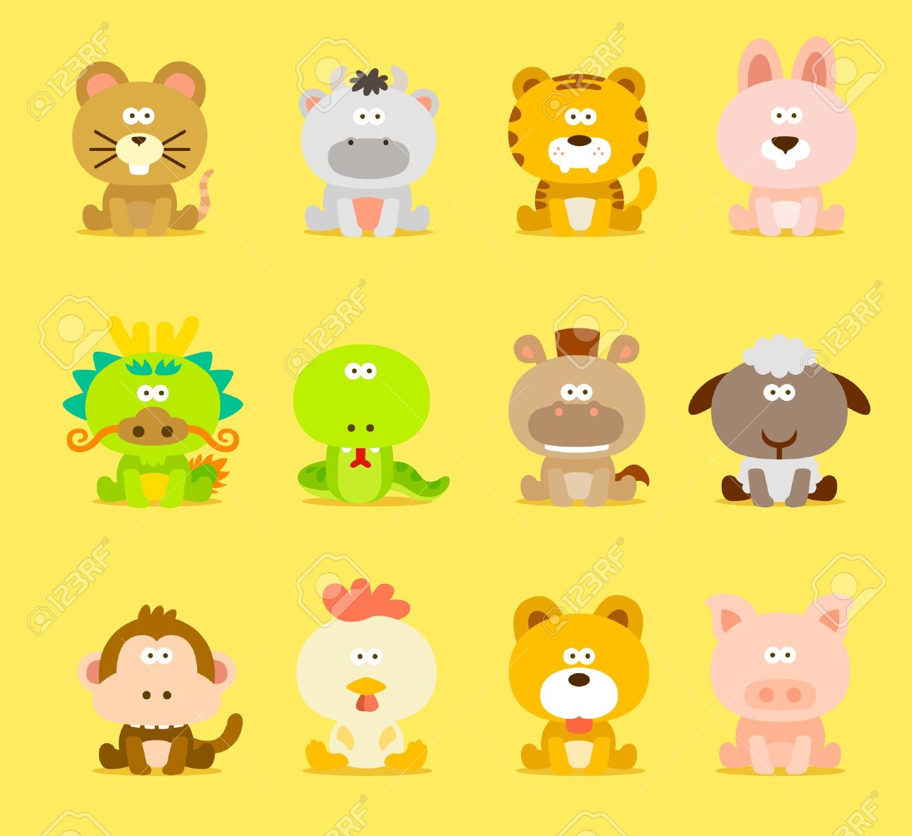 Chinese Zodiac animal ,12 animal icon set.