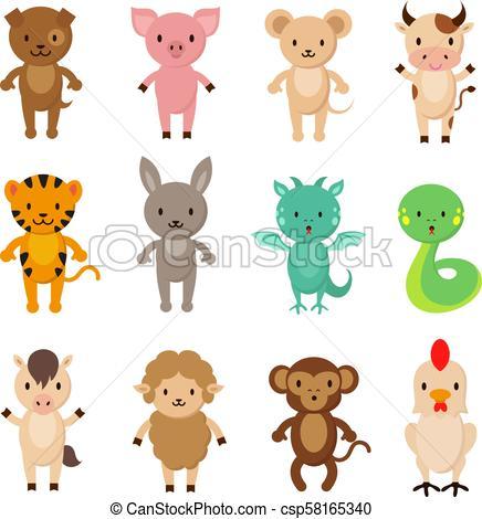 Chinese zodiac animals cartoon vector characters set.