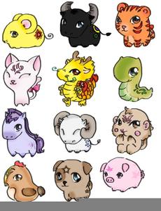 Chinese Zodiac Animals Clipart.