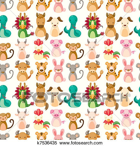Chinese Zodiac animal seamless pattern Clipart.