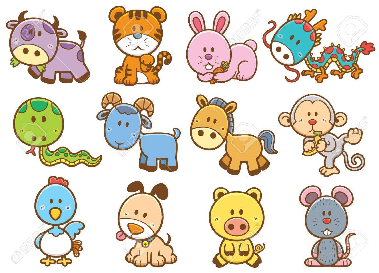 Vector illustration of Chinese Zodiac animal cartoon.