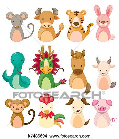 12 animal icon set, Chinese Zodiac animal, Clipart.