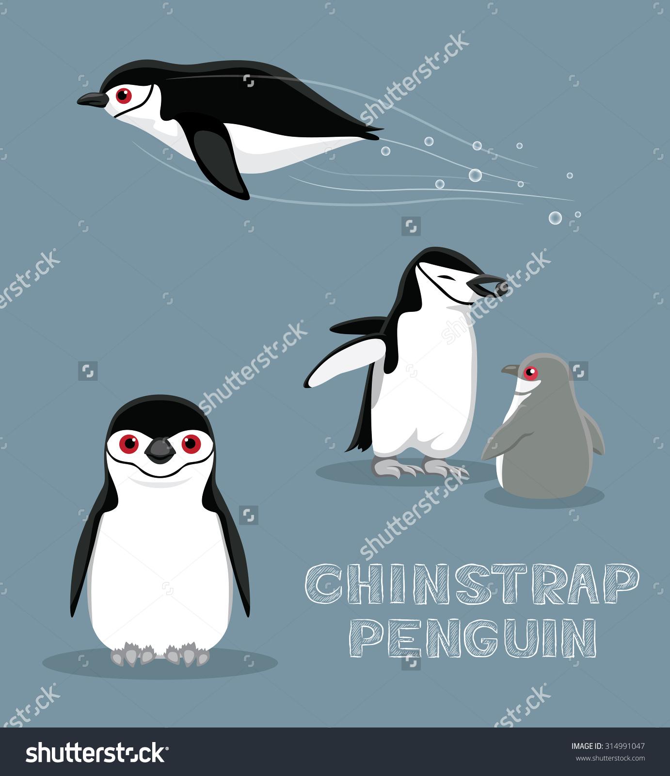 Chinstrap Penguin Cartoon Vector Illustration Stock Vector.