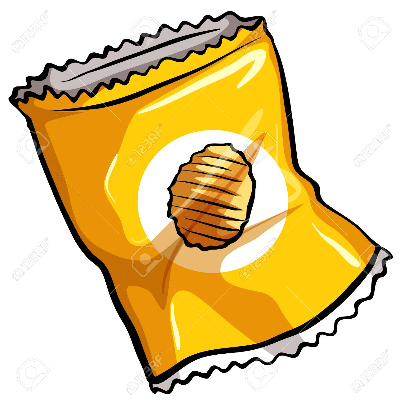 A pouch of potato chips on a white background.