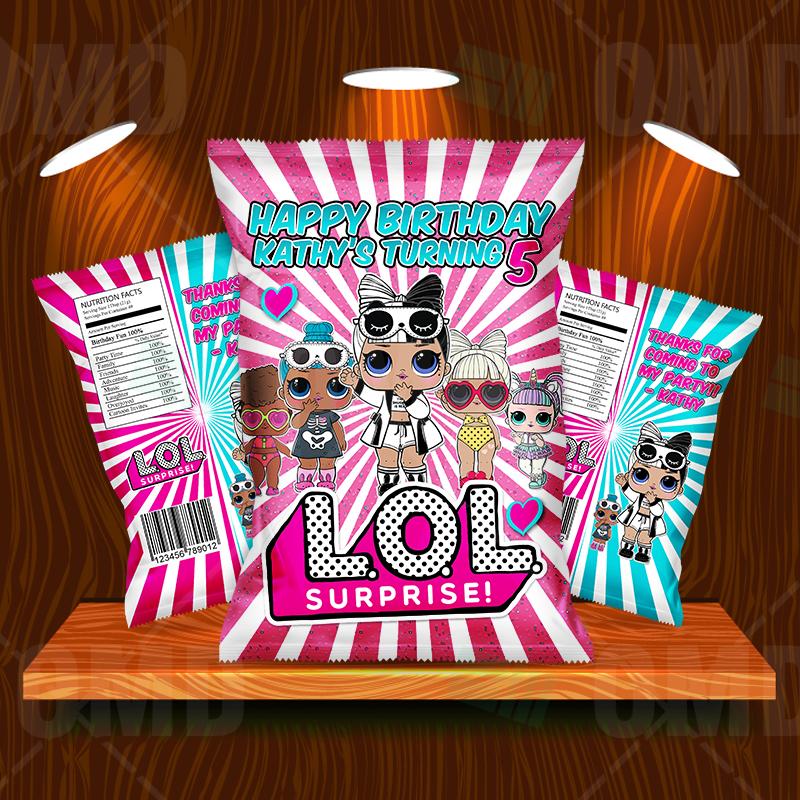LOL Surprise Dolls Cartoon Party Potato Chip Bags.