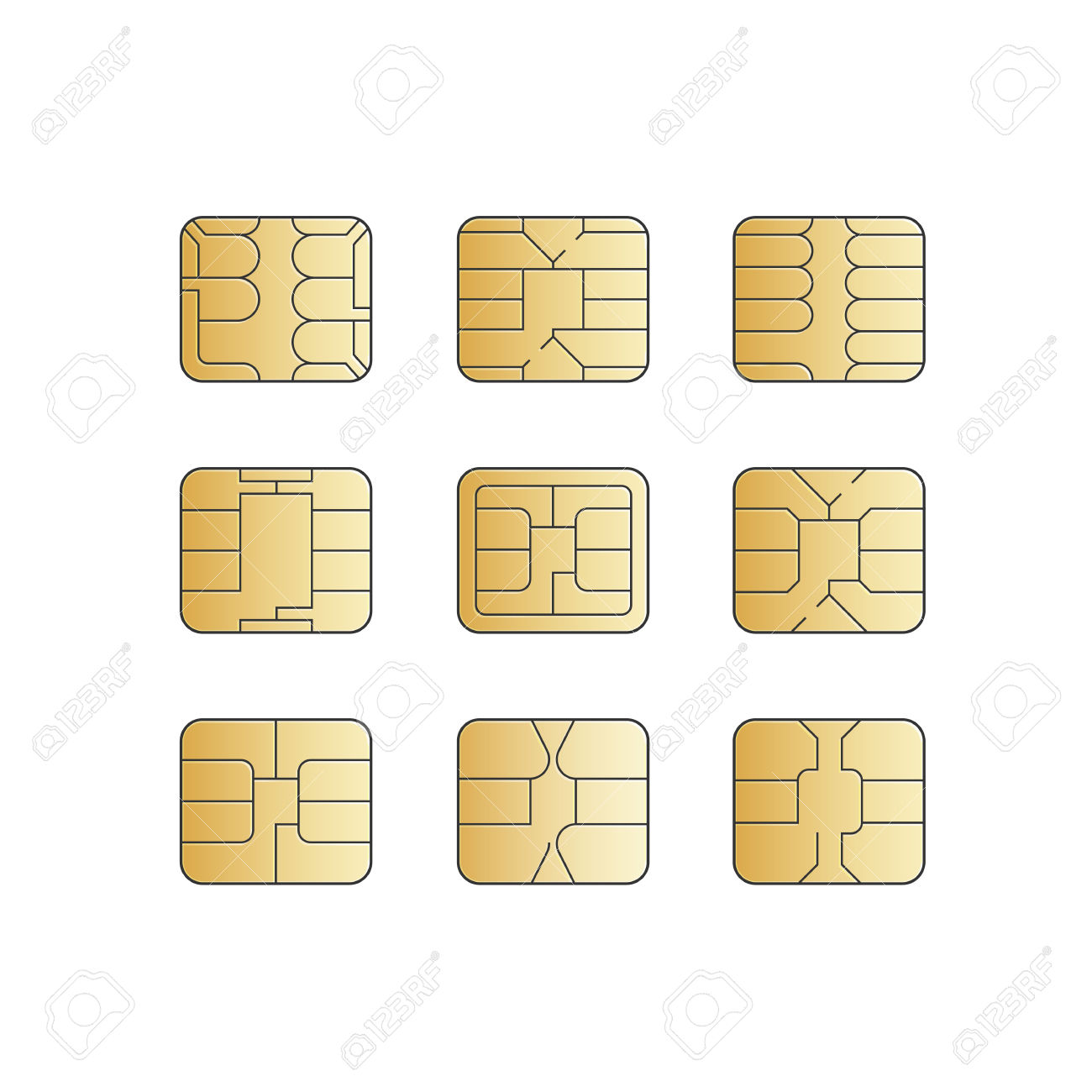 Vector Mobile Cellular Phone Sim Card Chip Set Royalty Free.