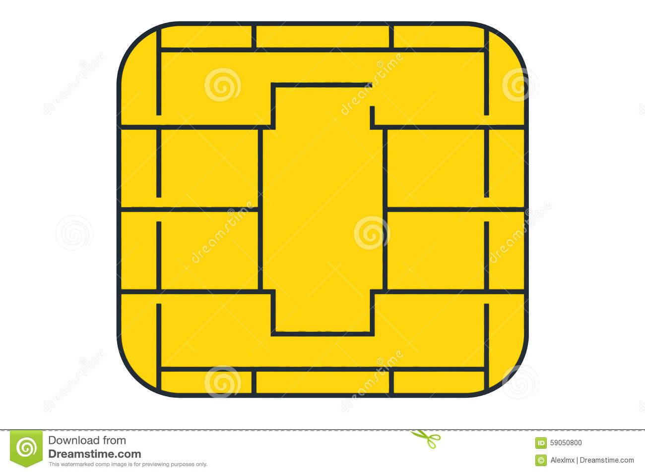 Golden Card Chip Stock Illustration.