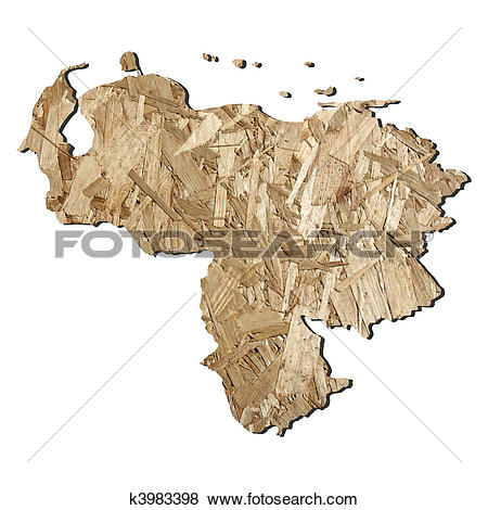 Stock Illustration of Venezuela chipboard map k3983398.