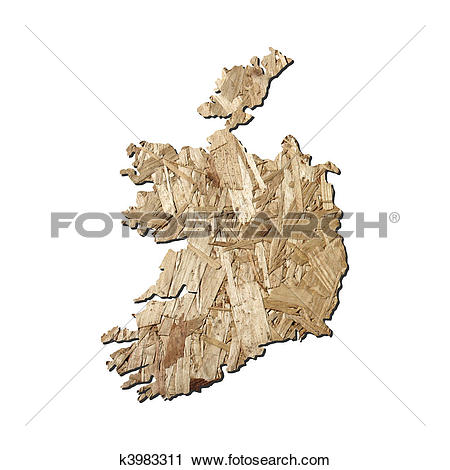 Clipart of Ireland chipboard map k3983311.