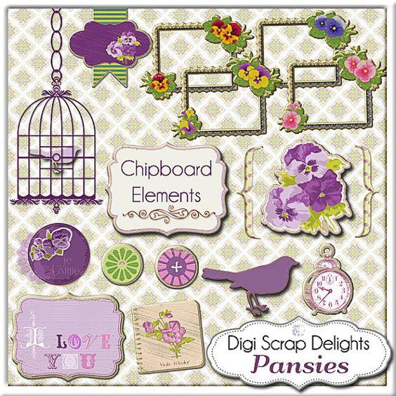 Vintage Pansies Digital Scrapbooking Bundle: Papers, Pansy Clipart.