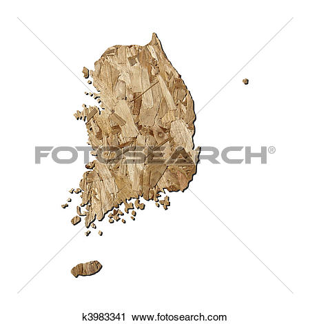 Clipart of South Korea chipboard map k3983341.