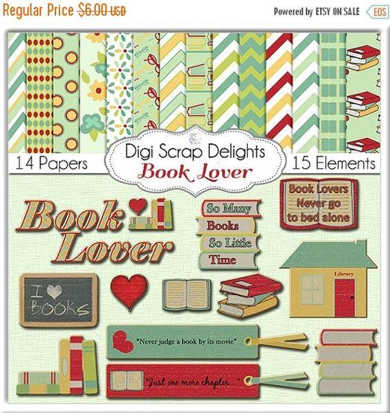 Book Lover Digital Scrapbook Kit Chipboard Clip Art, So Many Books.