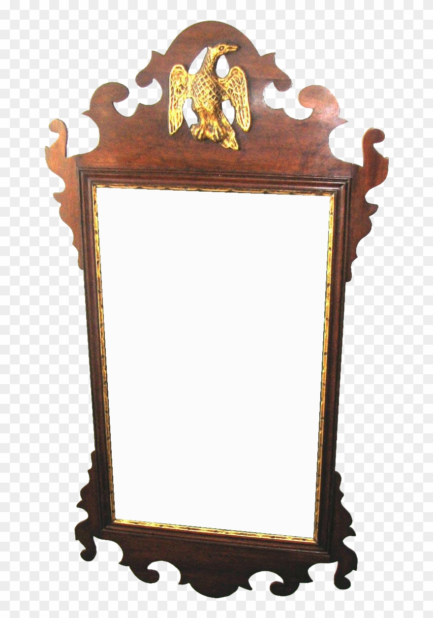 American Chippendale Mahogany Scroll Frame Mirror Jpg.