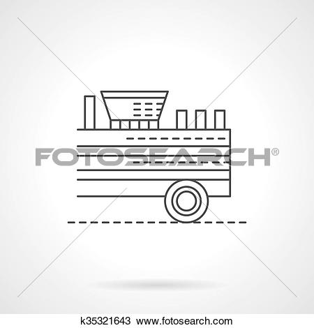 Clipart of Wood chipper flat thin line vector icon k35321643.