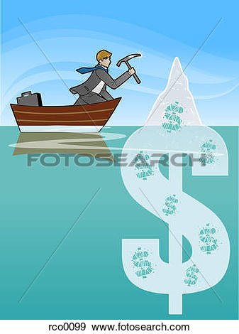 Stock Illustration of A man chipping away at a dollar sign in the.