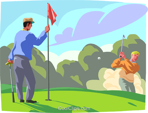 Golfer chipping in from the fringe Royalty Free Vector Clip Art.