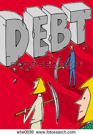 Stock Illustration of chipping away at debt whe0039.