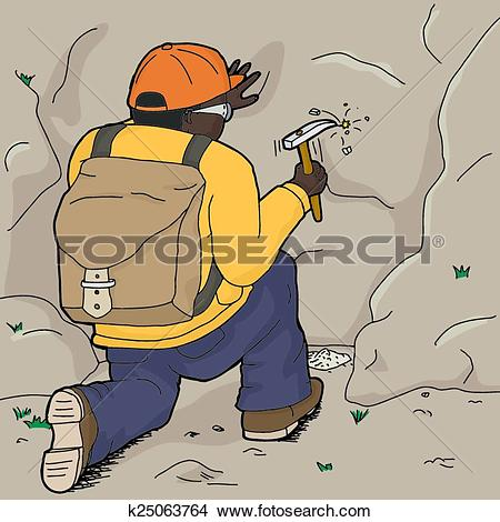 Clipart of Kneeling Geologist Chipping Rock k25063764.