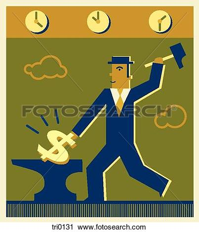 Clipart of A man chipping away at a dollar sign tri0131.