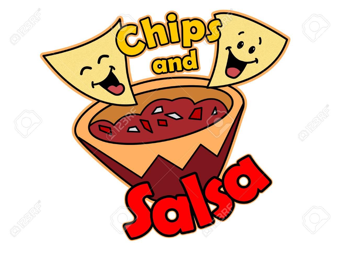 A Cartoon of Tortilla Chips and Salsa.