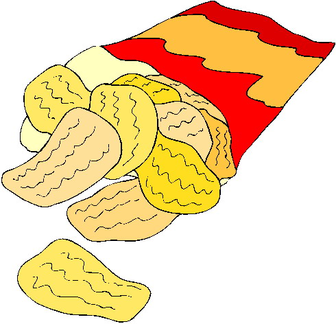 Drink And Chips Clipart.