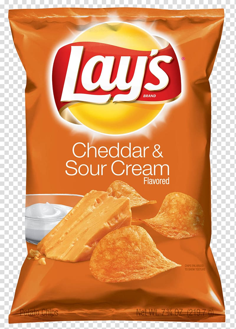 Lay\'s Cheddar & Sour Cream Flavored chip bag, Sour cream.