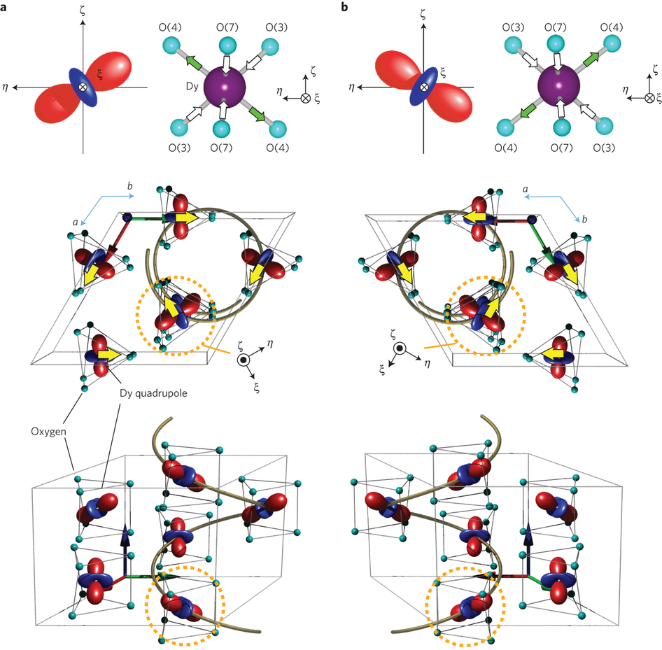 Observation of quadrupole helix chirality and its domain structure.