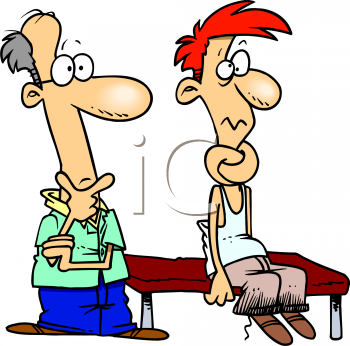 Cartoon of a Man at the Chiropractor with His Neck Tied in Knots.