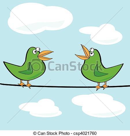 Vector Clipart of Birds chirping.