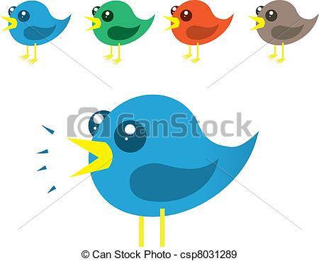 EPS Vectors of Chirping Birds.