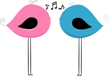Two Chirping Birds Clip Art.