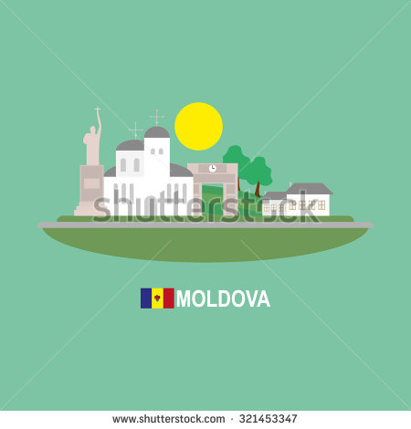 Moldova Famous Buildingds Infographic Stock Vector Illustration.