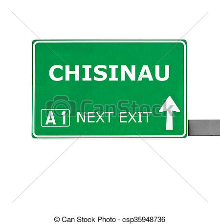 Drawings of CHISINAU road sign isolated on white.