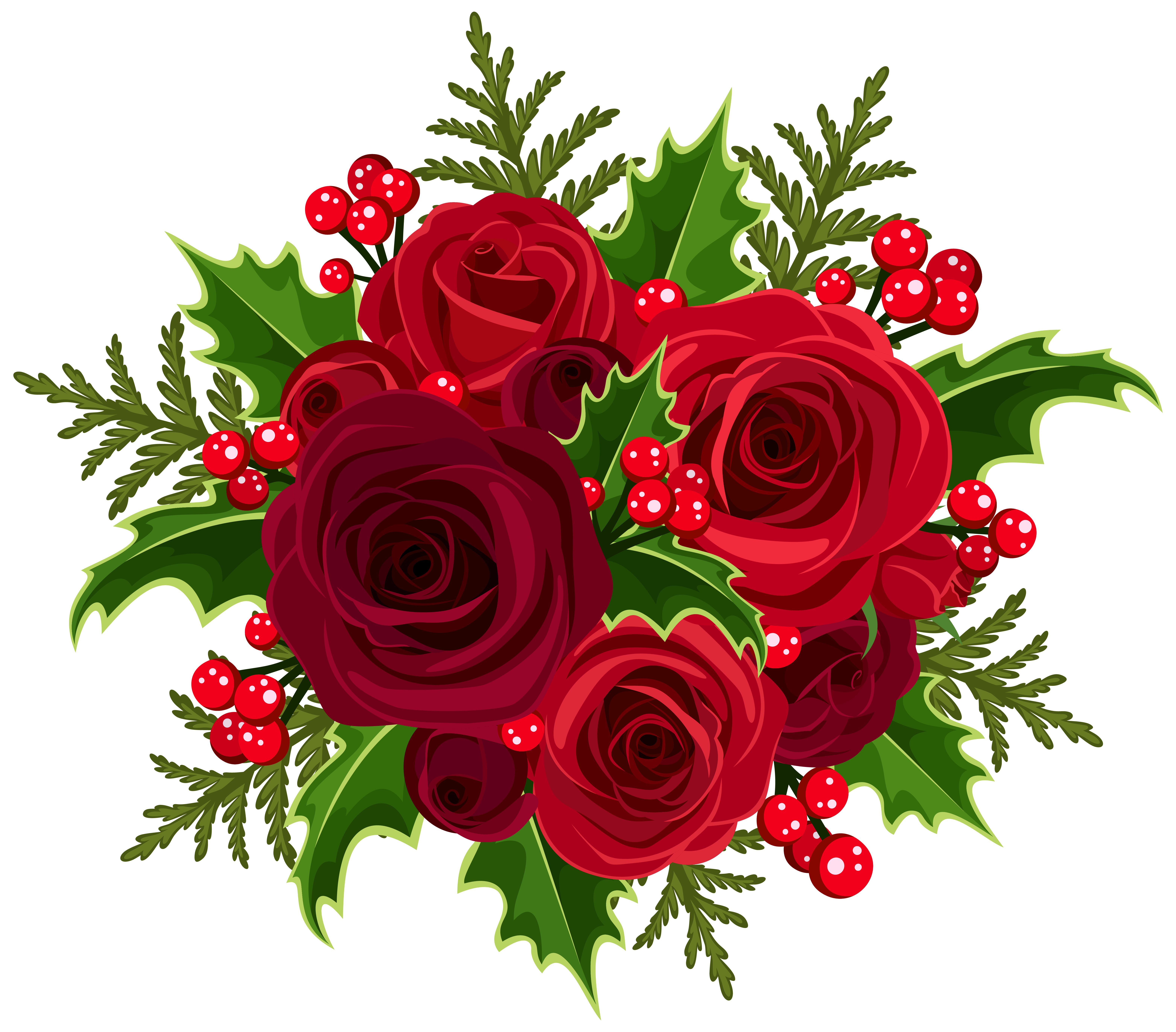 Christmas Rose Decoration PNG Clip Art Image.