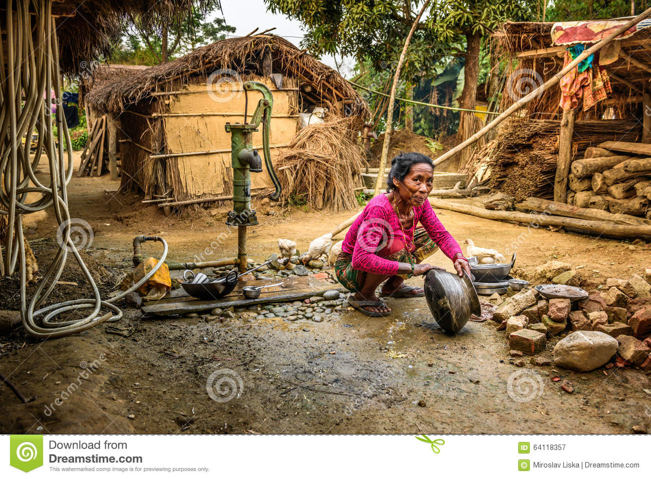 Old Nepalese Woman, Chitwan, Nepal Editorial Stock Photo.