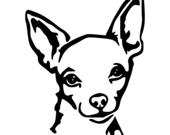 Chihuahua Clip Art Black and White.