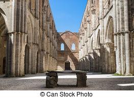 Stock Photographs of St Galgano abbey ruins in Chiusdino.
