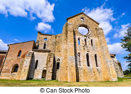 Stock Images of St Galgano abbey ruins in Chiusdino.
