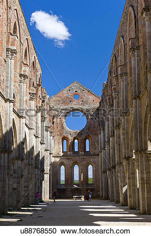 Stock Photography of Italy, Toscana, Chiusdino. Ruins of the.