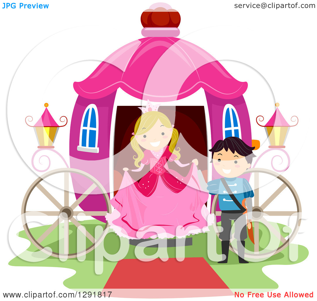 Clipart of a Chivalrous Prince Helping a Princess Step out of a.