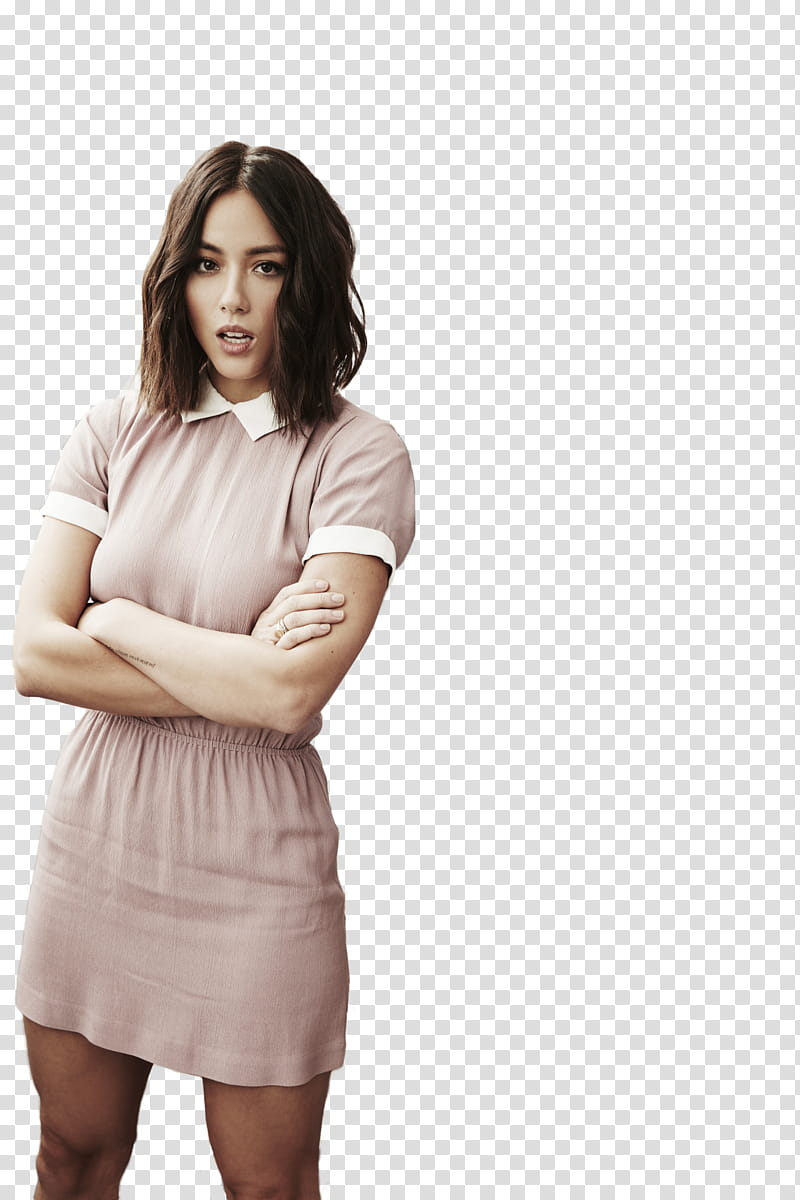 Chloe Bennet, woman folding her arms transparent background.