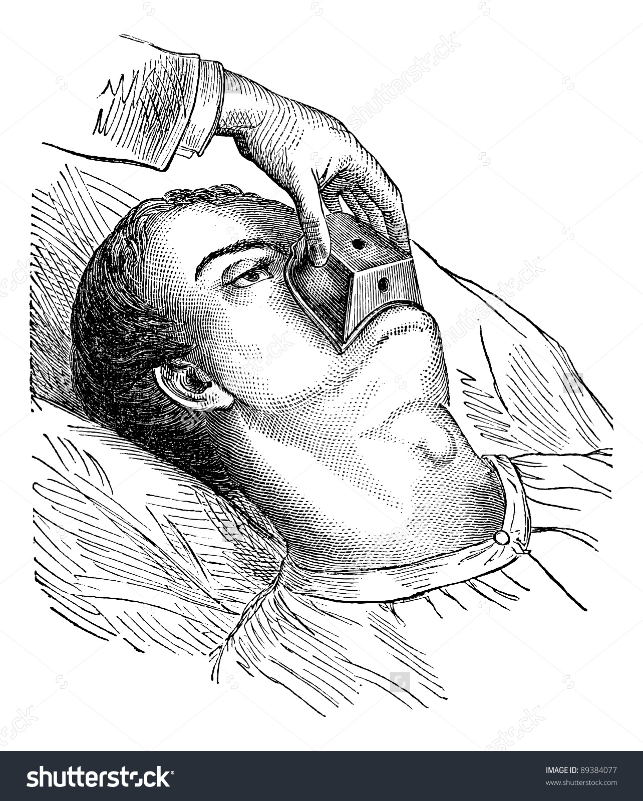 Application Cone Chloroform Vintage Engraved Illustration Stock.
