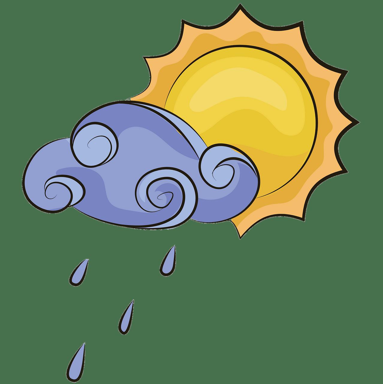 Słońce i deszczowa chmura clipart. Darmowe pobieranie.