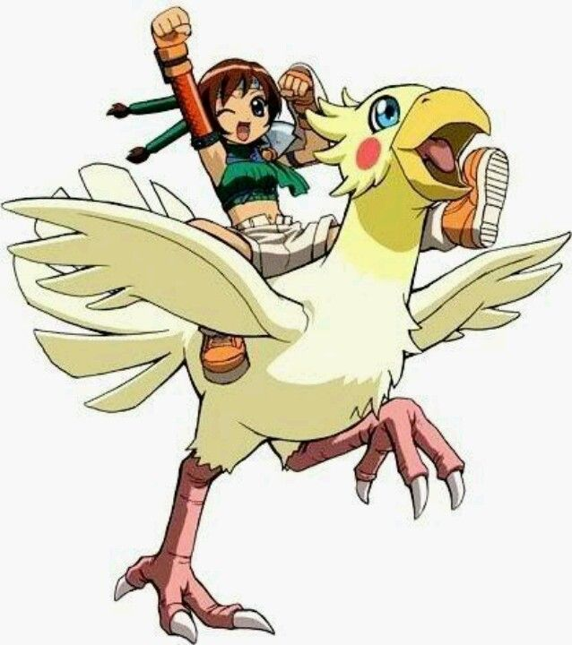 Yuffie riding a chocobo (probably has my Materia , too.
