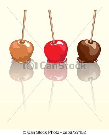 Vector Illustration of Candy apples reflected.