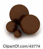 Clipart Illustration of 3d Chocolate Candies And Chocolate Balls.